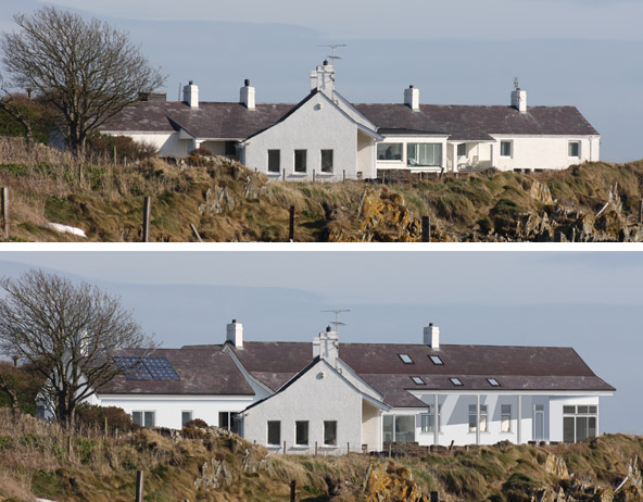 Replacement dwelling - Photomontage before and after